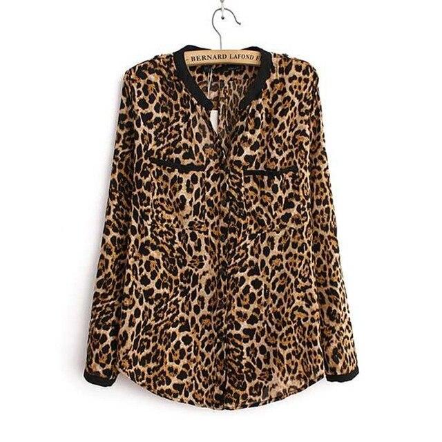 2016 da cópia do leopardo chiffon mulheres lady sexy longo-luva top camisa plus size solto v neck leopard camisa feminina clothing