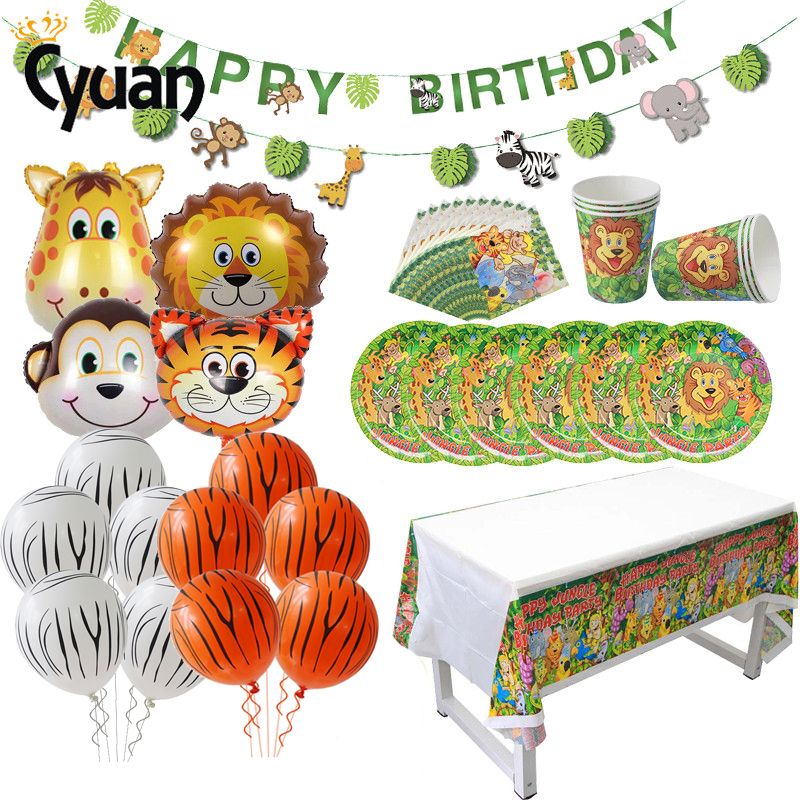 Farm Birthday Party Jungle Party Foil Animal Balloon Safari Party Tableware Supplies Baby Shower Birthday Party Decoration Kids