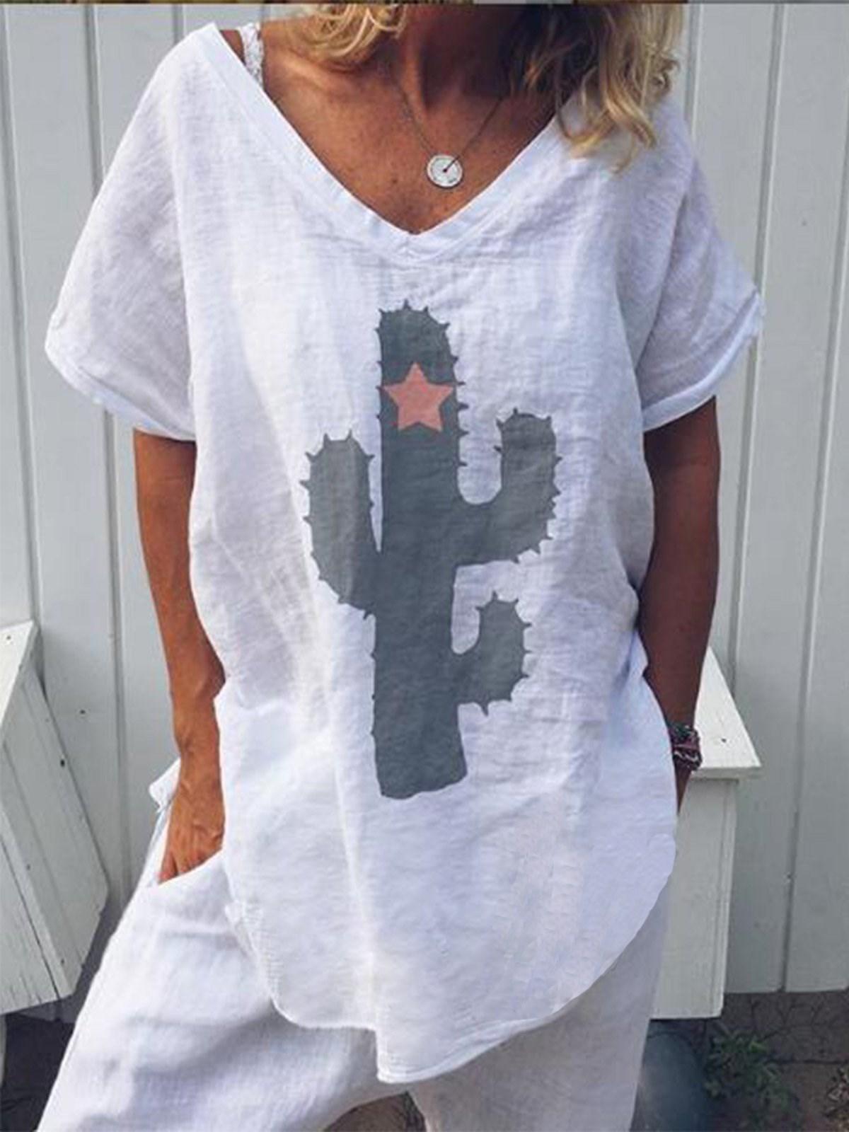 Basic Tee T-shirt Women Casual V-neck Summer Top Hipster White T Shirt