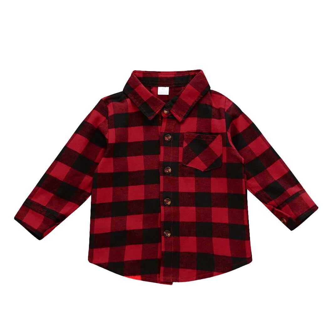 e41b0d02ab1 2018 Детские Блузки для малышек Одежда для мальчиков рубашка для девочек с  длинным рукавом Детские пледы проверяет блузка наряды