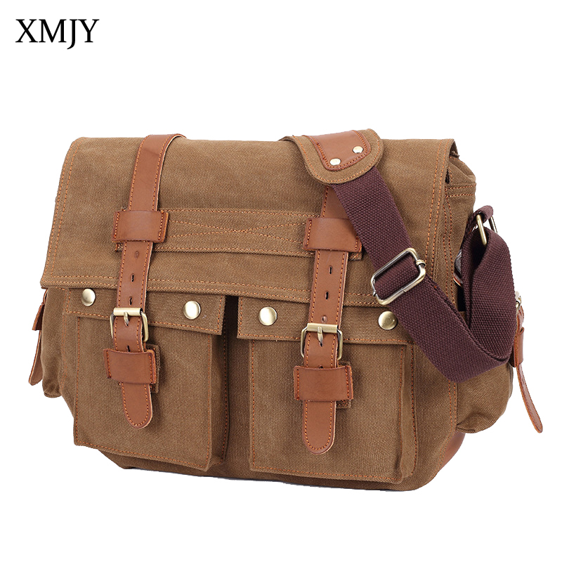 XMJY Canvas Men Messenger Bags Vintage Military Stylish Crossbody Shoulder Bag Casual Functional Travel Pack Male School Bag canvas leather crossbody bag men briefcase military army vintage messenger bags shoulder bag casual travel bags