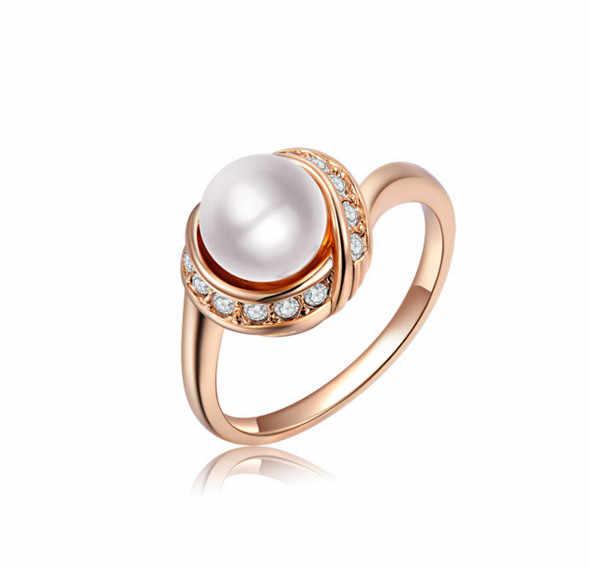 COWNINE Marchio di Alta Qualità di Cristallo Elegante Imitazione Perla Anello Bianco oro Austriaco Cristalli Anelli Per Le Donne