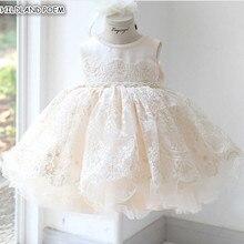 Вечерние платья для маленьких девочек на свадьбу; кружевное платье принцессы с фатиновой юбкой для девочек; бальное платье принцессы для крещения, первого дня рождения