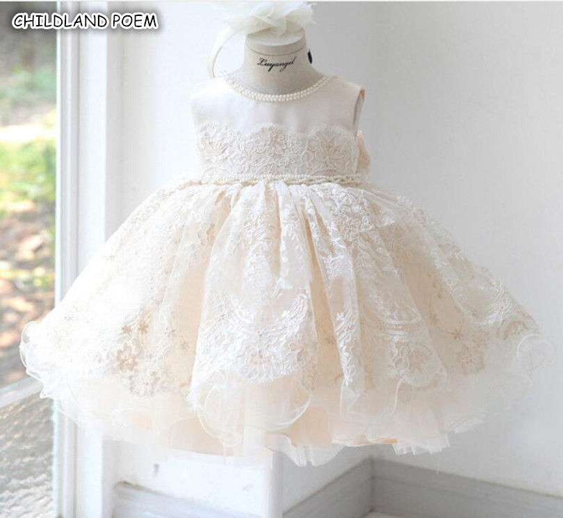 Baby Girl Dresses For Party And Wedding Princess Lace Girls Tulle Dress Baptism Christening 1st Birthday Princess Ball Gown-in Dresses from Mother & Kids    1