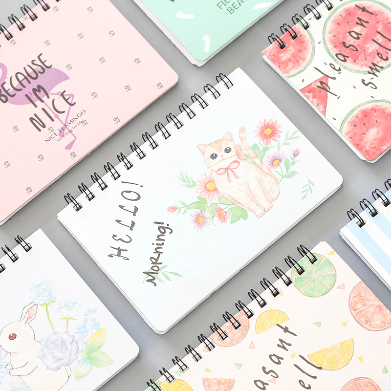 Cute Cartoon Animal Flamingo Fruit Travelers Spiral Notebook Flower Weekly Plan Notepad Memo Stationery Office School Supplies 2018 pet transparent sticky notes and memo pad self adhesiv memo pad colored post sticker papelaria office school supplies