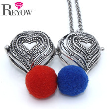 Wholesale LOTS 5PCS Antique Silver Heart Shaped Locket Cage Pendant Necklace Aromatherapy Essential Oil Diffuser Jewelry
