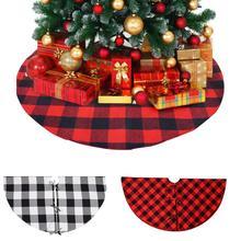 120cm Buffalo Plaid Christmas Tree Skirt Double Layers Xmas Tree Skirt for Hotel Shopping Mall Home Christmas Decorations 20E