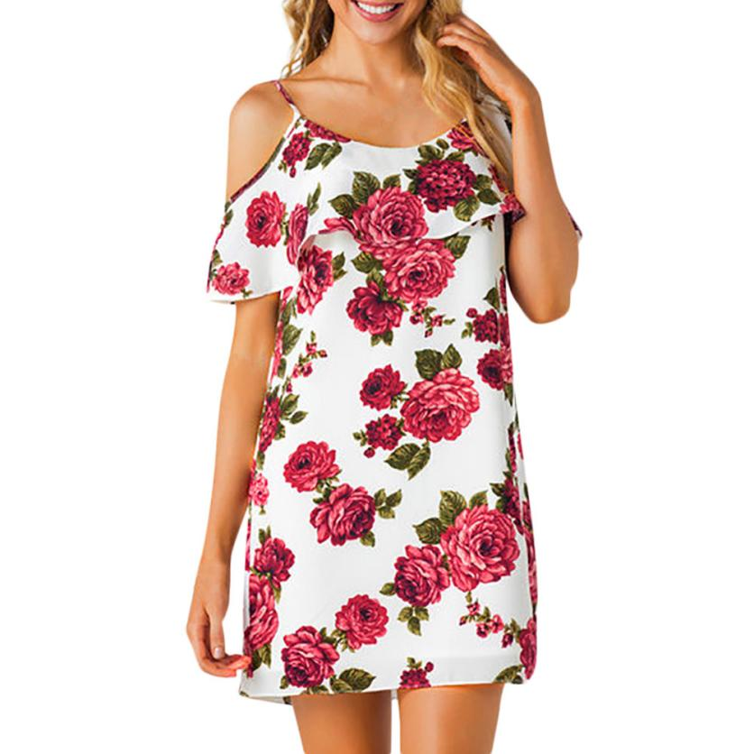 703a405248fbb US $4.29 45% OFF|Ruffle Off Shoulder Chiffon Floral Dress Loose Above Knee  Mini Dress Strapped Bandage Short Beach Sundress Straight Dresses#21-in ...