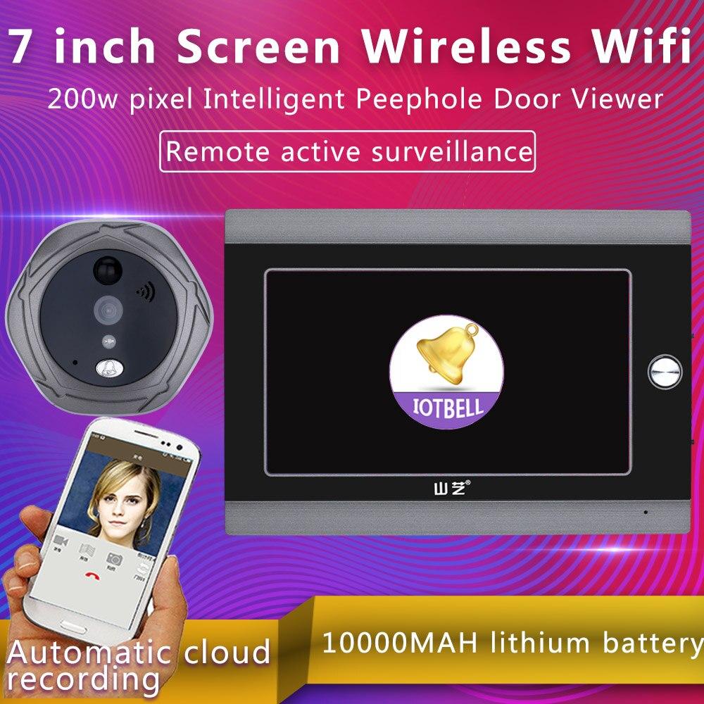 Mountainone 720P WiFi Wireless Digital Peephole Door Viewer 7inch Front Video Door Peephole Camera Wifi video