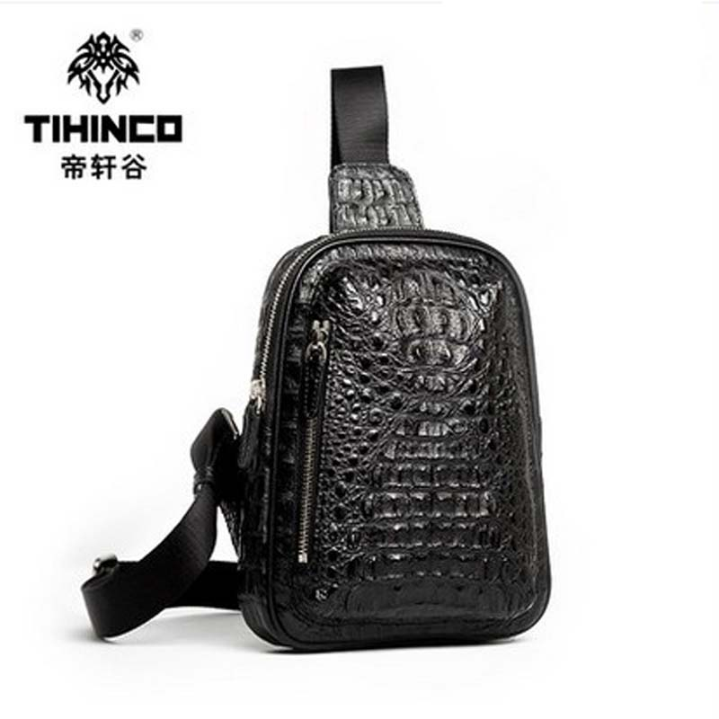 TIHINCO Hot style leather bag man chest pocket bag Male crocodile chest pack han edition Tide leisure luxury crocodile 2016 new lady chest pack female leather satchel leisure korean tide printing leather sports backpack bag chest free shipping