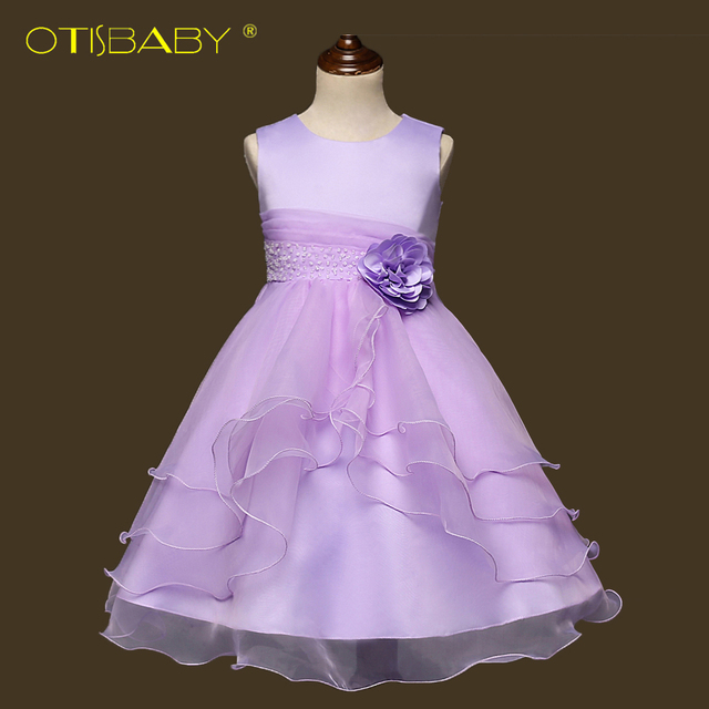Girls Birthday Party Dresses Children Fancy Princess Wedding Clothes Kids Christmas Ball Gown Vestido Sleeveless Puffy