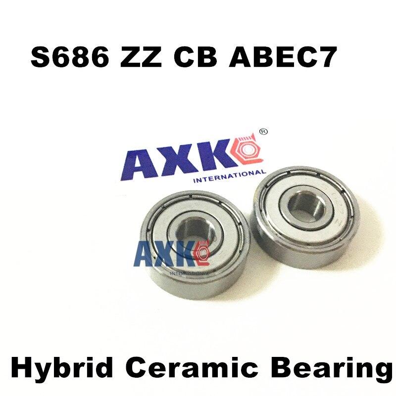 где купить Free Shipping S686 ZZ CB ABEC7 6x13x5 mm s686zz Germany Hybrid ceramic si3n4 balls+ ss rings ball bearing дешево