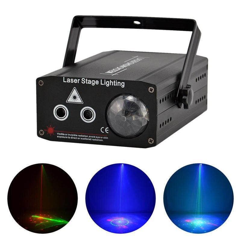 AUCD Mini 2 Yeux Rouge Vert RG Gobo Projecteur Feux Laser Mélanger Bleu LED Aurora DJ Maison Fête Spectacle Éclairage Scène DJ610