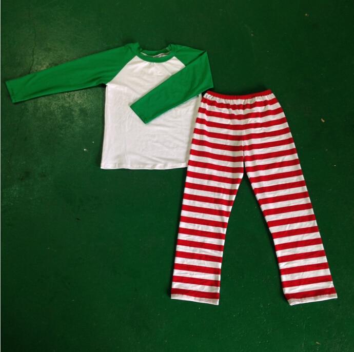 Full sleeve unisex baby sleepwear raglan sleeve Santa Family Unisex Christmas red and white Striped Cotton Family Pajamas Set