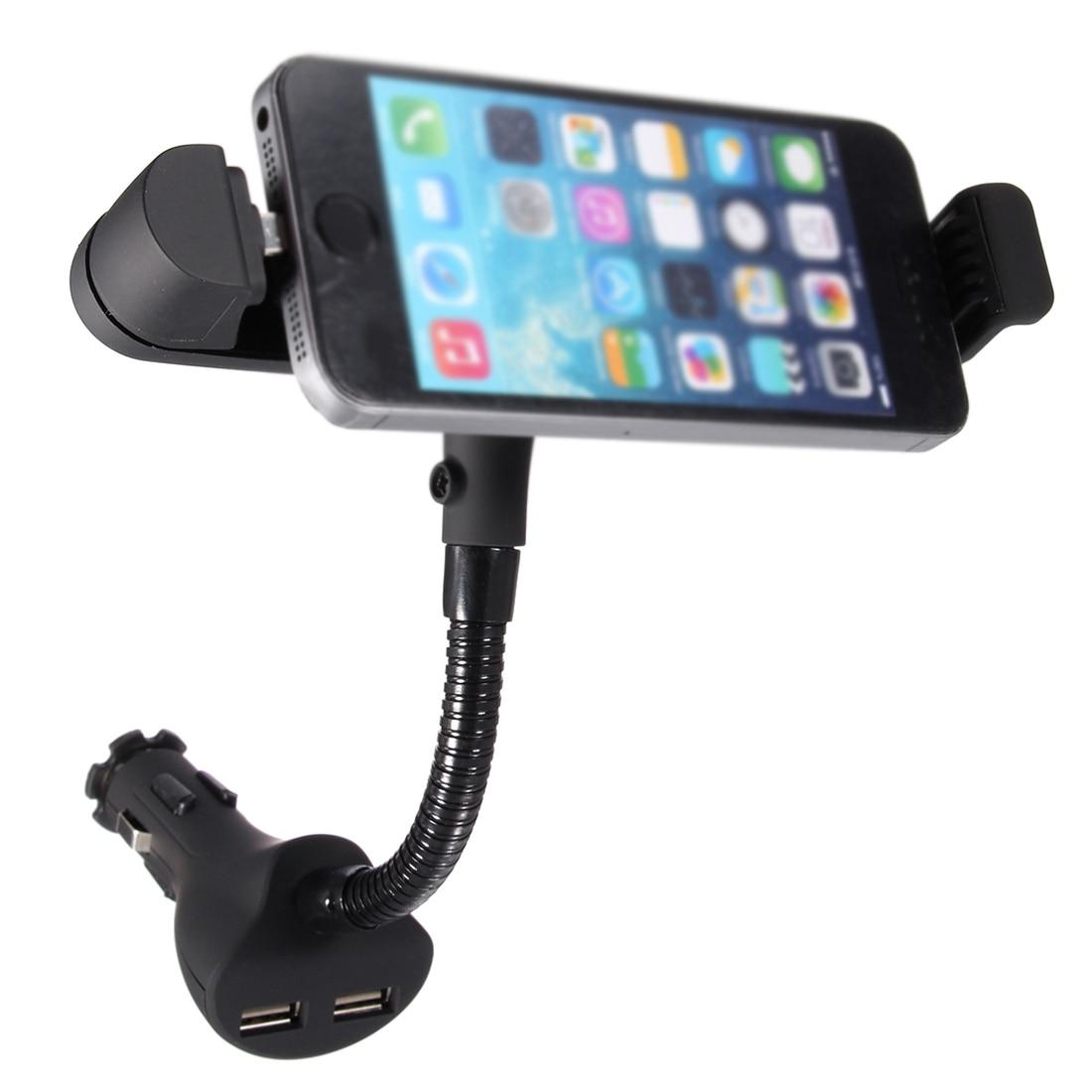 Dual USB Car Charger Cigarette Lighter Mount Holder for iPhone 6S Plus 6 5S 5C 5 Black