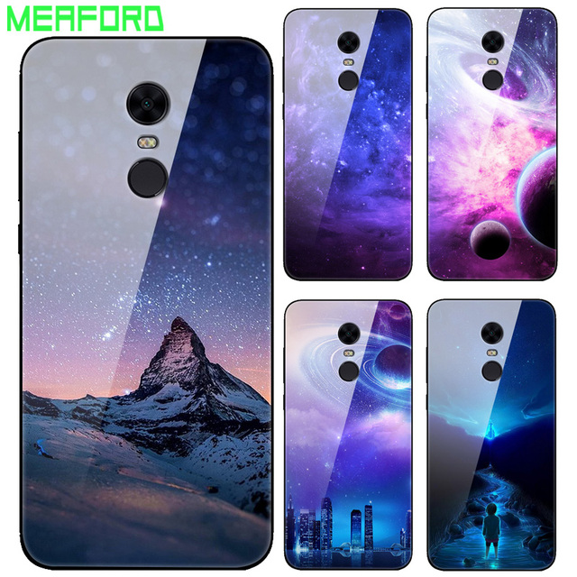 super popular 6c4be e7140 US $3.99 20% OFF|For Xiaomi Redmi 5 Plus Case Tempered Glass Planet Space  Cover Shockproof Glass Back Case for Xiaomi Xiomi Redmi 5 5Plus Coque-in ...