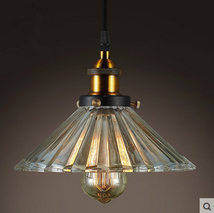 Glass Chandelier Retro Nostalgia Simple Industrial Coffee Bar Restaurant Single Umbrella Crystal Chandeliers