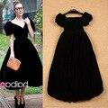 2015 Лето Сладкий Элегантная Мода Короткие Puff Рукавом Pure Black & Синий Средней длины Платье