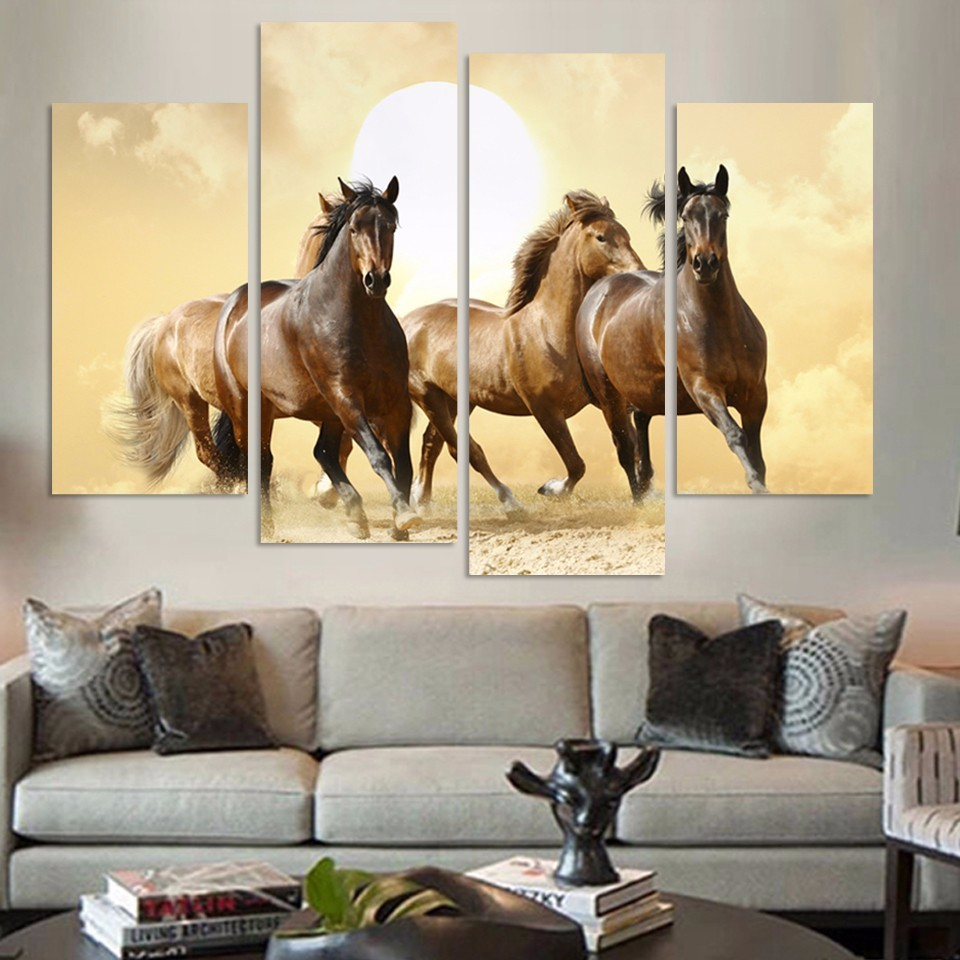 Horse sticker wall art - Modern Unframed 4 Pieces Canvas Paintings Running Horse Wall Art Pictures Home Decoration China