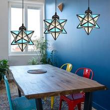 Vintage Stained Glass Five-pointed Star Stairway Kitchen Dining Chandelier Handing Chain Lighting Lamp Antique 220V
