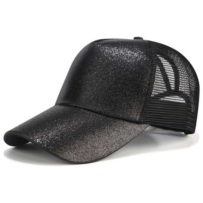 2018 Glitter Ponytail Baseball Cap Women Snapback Dad Hat Mesh Trucker Caps Messy Bun Summer Hat Female Adjustable Hip Hop Hats 1