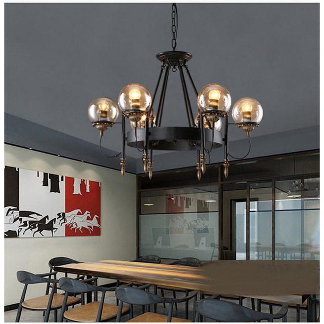 Glass Magic Beans Pendant Lights Industrial Vintage Personality Art Deco Suspension Lamp Bar Cafe Hotel Light Fitting