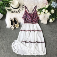 Women Sleeveless Dress Beach Summer Bohemian National Summer Bohemian Holiday Thin Elegant Vestidos F316