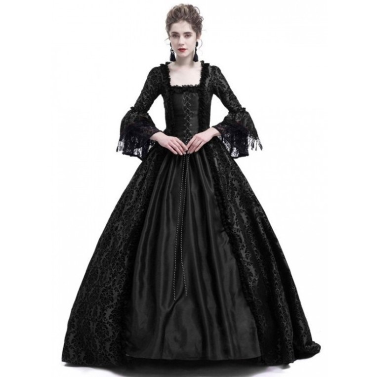 Halloween Party Dress Medieval Womens Long Dresses Queen Gown Cosplay Costume