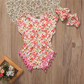 NEW Newborn Infant Baby Girls Clothes Summer Sleeveless Floral Cotton Tassels Cute Baby Bodysuit+Headband Baby Clothes Outfits