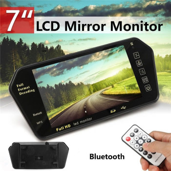7 Inchces Car MP5 Bluetooth Music Player Multi-Function Rearview Mirror Smart FM Transmitter 6W image