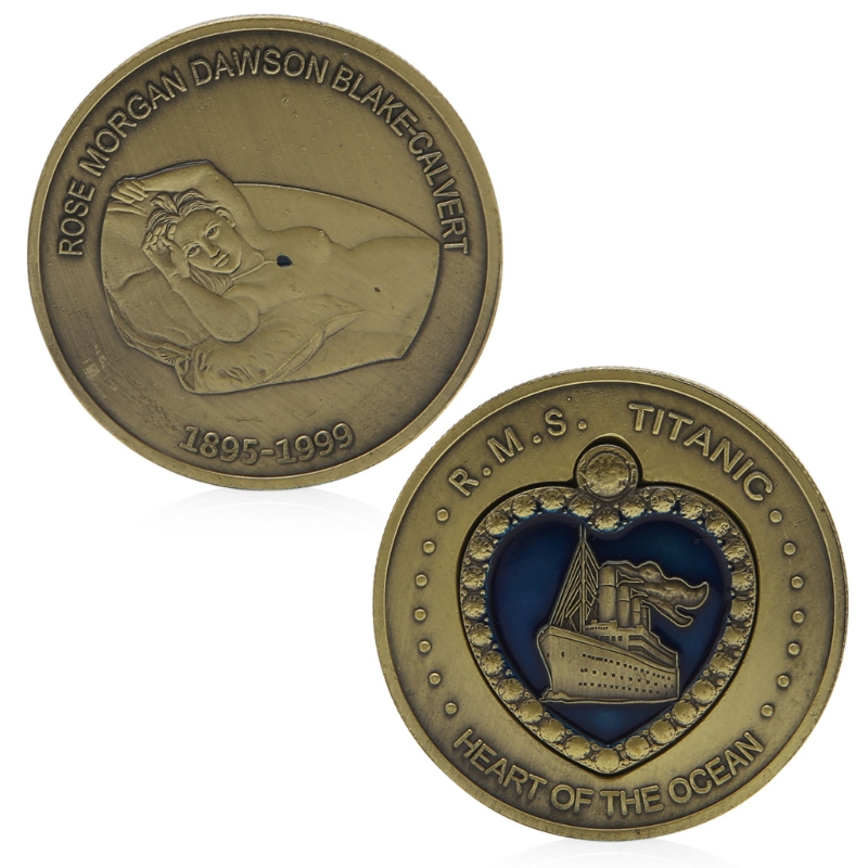 Coin Souvenir Bronze Plated Titanic RMS Heart Of The Ocean Medal Commemorative Challenge Coin