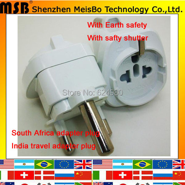 Multifunction 15A 250v BIG 3 pin South africa india travel power converter adapter plug with safety shutter socket 500pcs