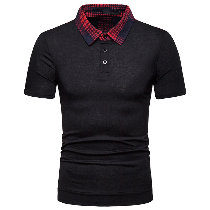 Summer new casual style plaid stitching pattern lapel loose large size short sleeve men   POLO   P0056