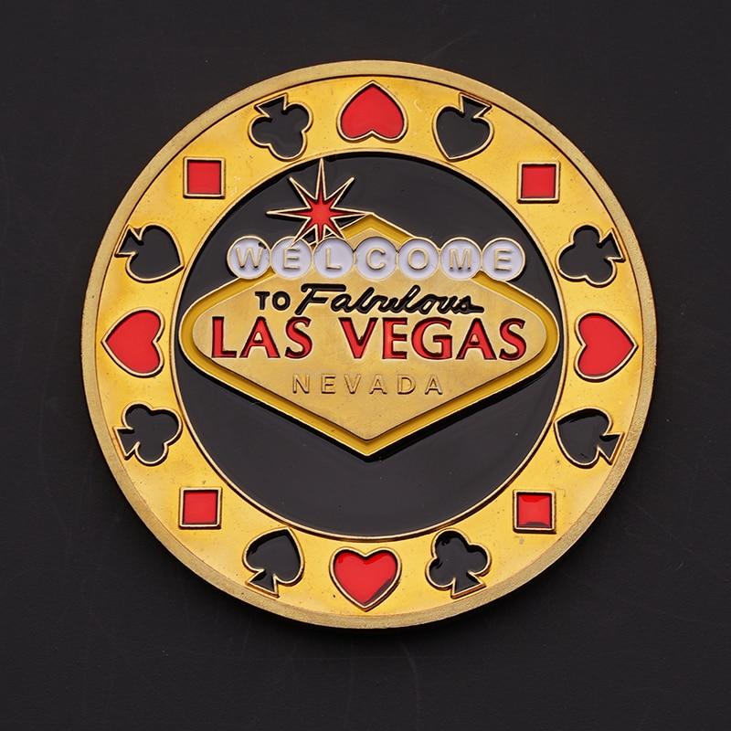 Poker Spades Welcome Las Vegas Coin Souvenir Gold Plated Commemorative Coin Collectible Gift House Decorative Coin