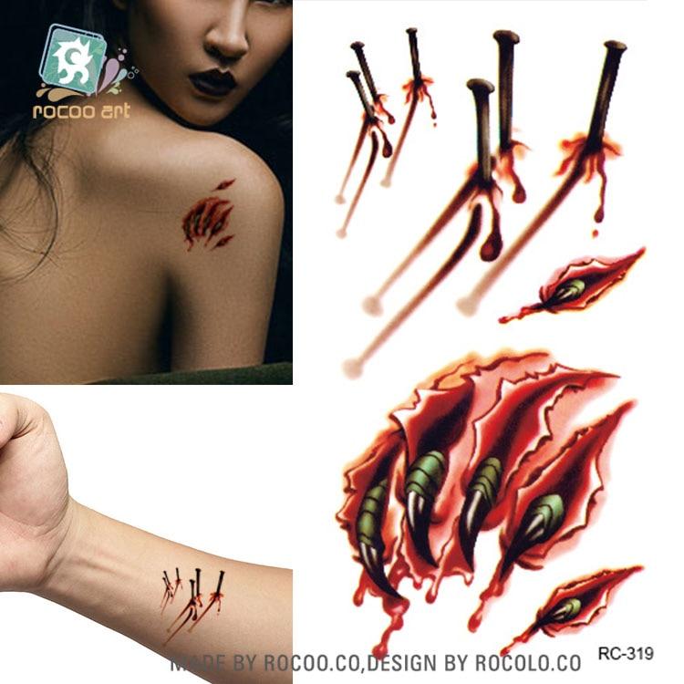 3d halloween wound claw blood scar fake tattoo designs temporary tattoo sticker body art water transfer - Halloween Fake Wounds
