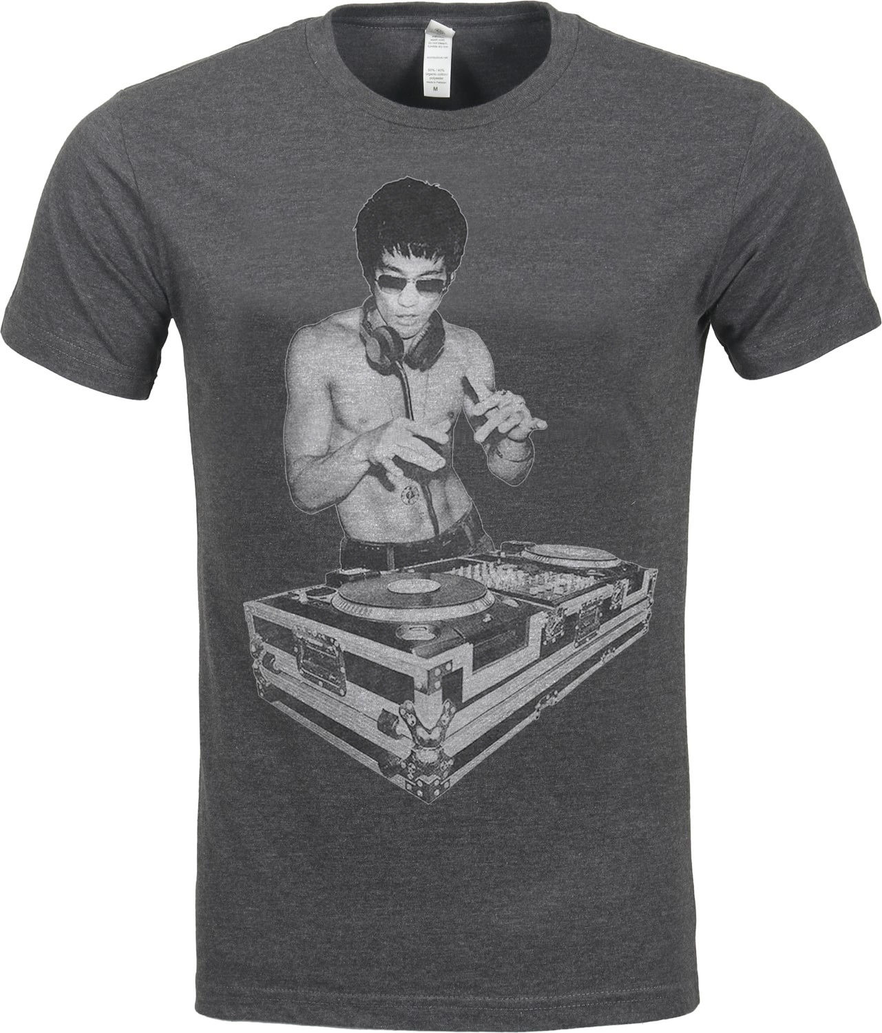 DJ Bruce Lee Worn By Tony Stark Avengers Movie Mens Charcoal T Shirt