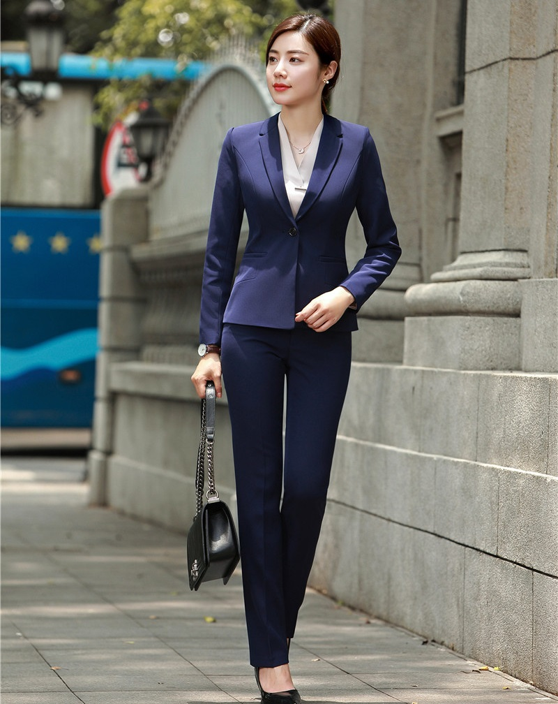 Formal Navy Blue Blazer Women Business Suits With Pant And -1038