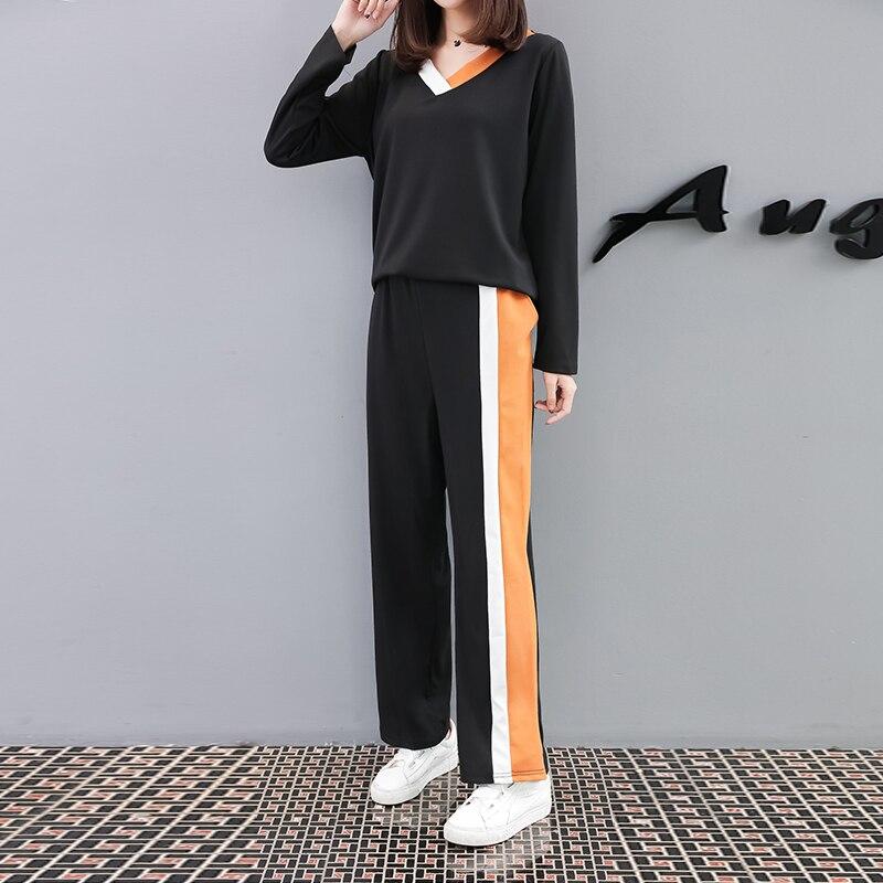 Plus Größe 5XL Neue Herbst frau Tops Und Hosen Zwei Stücke Sets V-ausschnitt Volle Hülse Lose Mode Pullover Heißer verkauf S88632LD