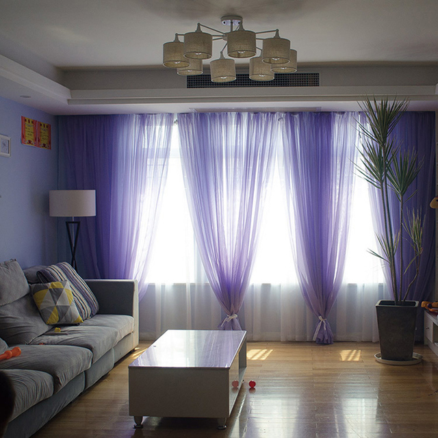 Arcobaleno di Colori Puro Sheer Pannelli Porta Finestra Tende di Tulle per la Camera Da Letto Tende Tenda Del Voile Per Complementi Arredo Casa Soggiorno Cucina