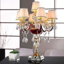 Ткань Абажуры для настольные лампы для гостиной роскошный свет таблицы винтажные хрустальный стол, настольная лампа огни ночники лампа на стол в спальню настольные лампы для гостинной настольная лампа абажур