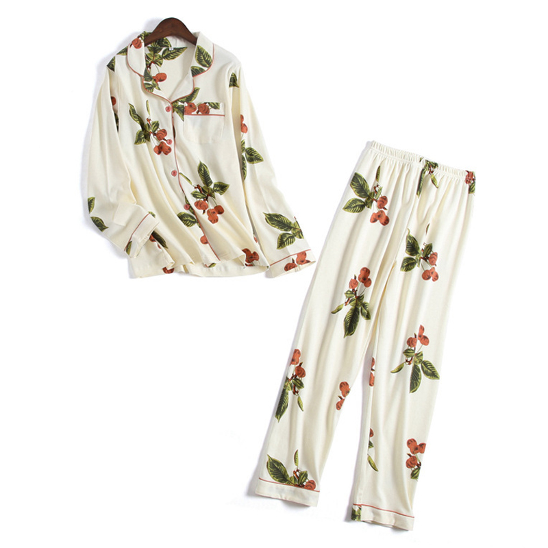 Fresh cherry fruit 100% cotton   pajamas     sets   woman long sleeve two piece pijama sleepwear soft pyjamas for women