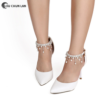 Shoes Women's Shoes women's sandals Adult Wedding Shoes White red bridal Shoes pointed Toe Heels wristband Fringe Ankle Strap