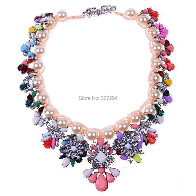 Luxo Shourouk cadeia Chunky colares declaração colar de flores