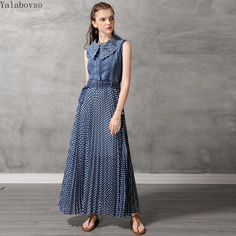 Vêtements pour femmes robe d'été 2019 nouveau gilet robes en denim rétro dentelle plissée point robe avec dentelle A50Z40 A82173