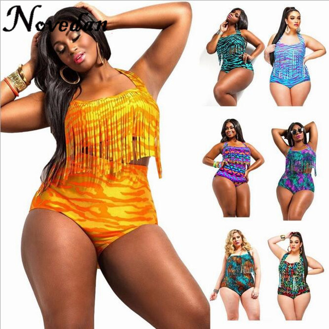 92fa2ce1213f5 Wholesale Bikinis Plus Size Swimwear Large size XXXL Halter Tassel Fringe  High Waist Bikini Swimsuit Sexy Bathing Suit For Women