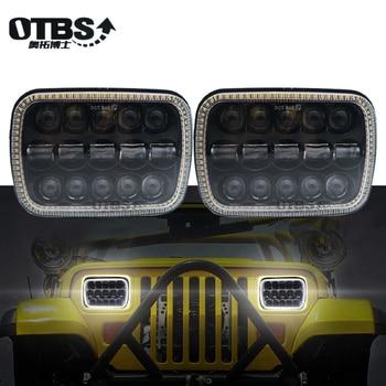 "OTBS 5x7 Auto White DRL Amber Signal Light Halo Led headlamp 6x7"" Square led headlight For Jeep Cherokee XJ 2pcs"
