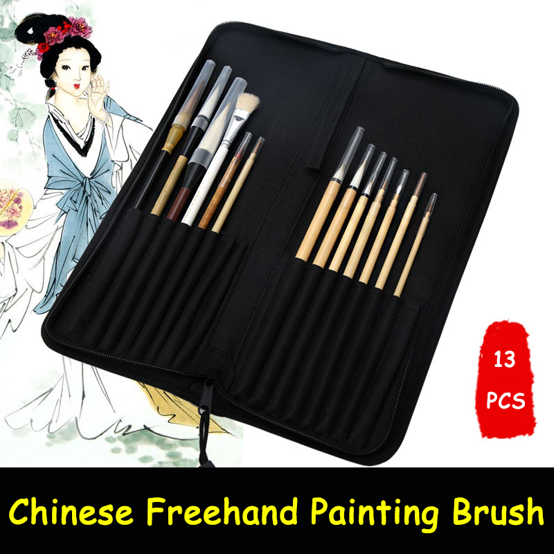 BGLN 13Pcs Chinese Freehand Painting Brush With Bag Calligraphy Pen Brush Weasel Hair Artist Painting Brush Supplies 1piece small regular script calligraphy pen brush weasel hair painting writing brush artist drawing brush art supplies mb126