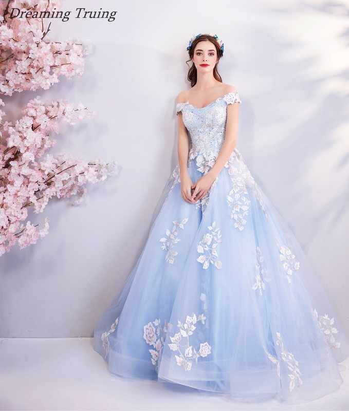 d2dca4d041c Detail Feedback Questions about Real Images Ball Gown Light Blue Quinceanera  Dress White Appliques For Quinceanera 15 Years Sweet 16 Dresses Vestidos De  15 ...