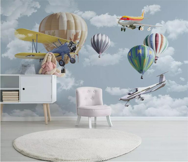 3D mural wallpaper cartoon hand painted hot air balloon Plane mural Children room sofa background wallpaper papel de parede in Wallpapers from Home Improvement