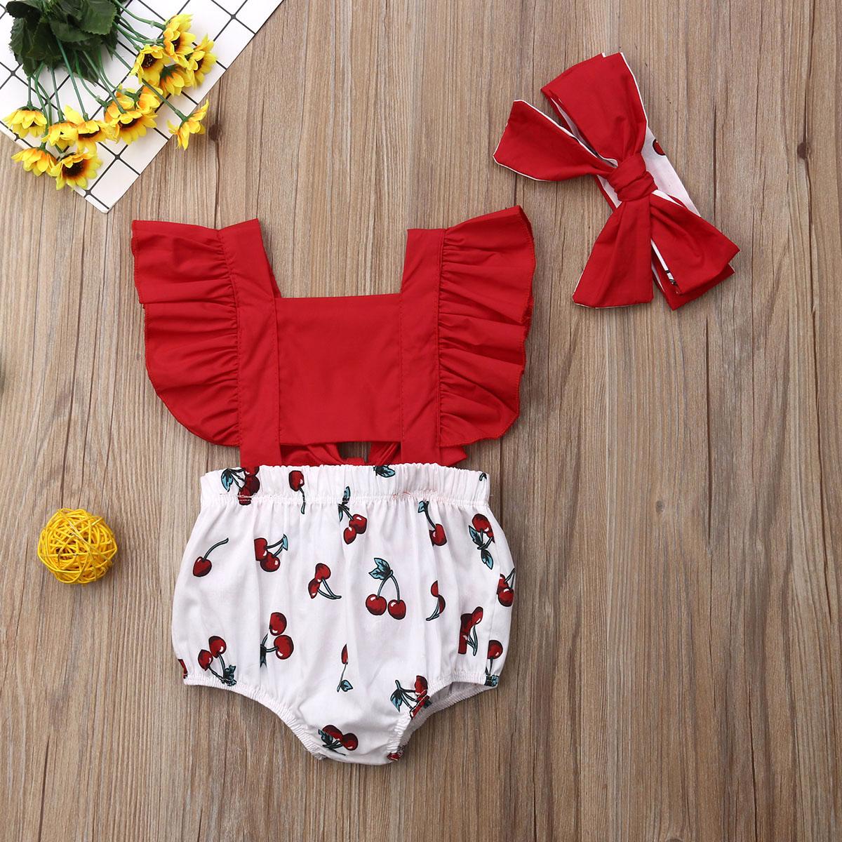 pudcoco 2pcs Newborn Baby Girl Ruffle Cherry Print